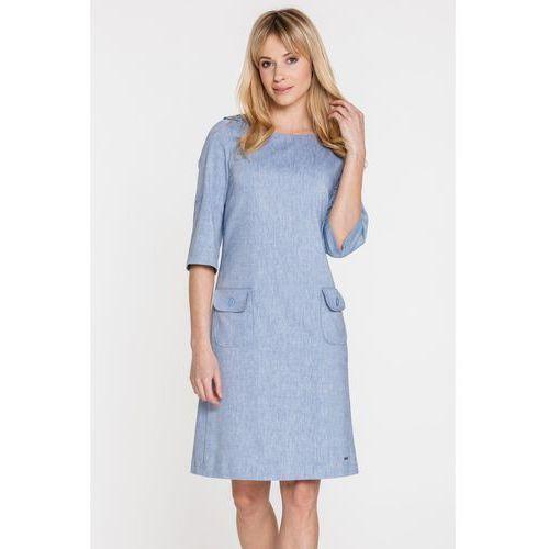 7c3479735559 Sobora Niebieska sukienka wizytowa z lnem -