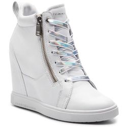 444a3008eda3b Sneakersy TOMMY HILFIGER - Iridescent Dress Sneaker FW0FW03921 White 100