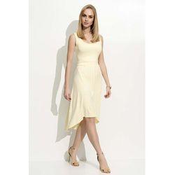 6278e5e98b Żółta Sukienka Asymetryczna na Szerokich Ramiączkach