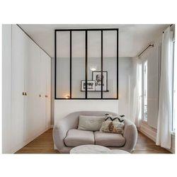 Przeszklona ścianka bayview z aluminium lakierowanego na czarno - 120x130 cm marki Vente-unique
