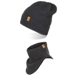 Ciemnoszary komplet zimowy czapka z kominem (5901764755227)