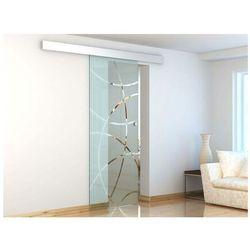 Vente-unique Naścienne drzwi przesuwne heidi - wys. 205 × szer. 83 cm - szkło hartowane