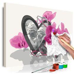 Obraz do samodzielnego malowania - aniołki (serce i różowa orchidea) marki Artgeist