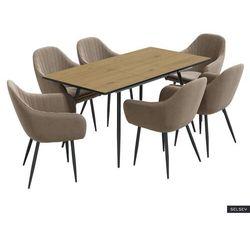 SELSEY Stół rozkładany Violarma 120-160x80 cm dąb z sześcioma krzesłami tapicerowanymi Wersos beżowymi