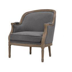 Fotel z lnu ALIENOR - Szary