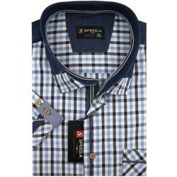 Koszula Męska Speed.A błękitna w kratkę z dodatkami jeans na krótki rękaw duże rozmiary K717
