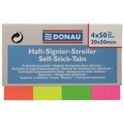 Zakładki indeksujące DONAU, papier, 20x50mm, 4x50 kart., mix kolorów