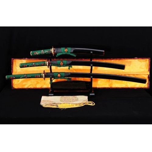 Broń treningowa, ZESTAW MIECZY JAPOŃSKICH SAMURAJSKICH HONSANMAI DO TRENINGU, STAL WARSTWOWANA I WYSOKOWĘGLOWA, R780
