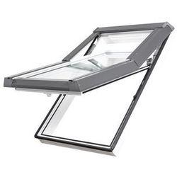 Okno dachowe DOBROPLAST Skylight Premium 66x140 złoty dąb PVC oblachowanie szare