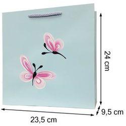 Torebka ozdobna prezentowa ręcznie malowana 24x23 - motylki
