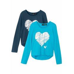 Shirt dziewczęcy z długim rękawem (2 szt.) bonprix turkusowy + ciemnoniebieski