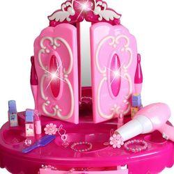 Duża toaletka z różdżką-pilotem dla dziewczynki Lustro Suszarka 008-18