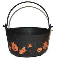 Pozostałe dekoracje, Wiaderko kociołek czarne z dyniami na Halloween - 23 cm - 1 szt.