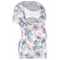 Shirt ciążowy i do karmienia piersią, bawełna organiczna bonprix biały z nadrukiem