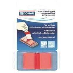 Zakładki indeksujące DONAU, PP, 25x45mm, 1x50 kart., transparentne czerwone