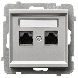 Gniazdo komputerowe podwójne 5e kategoria p/t (Krone), srebrny mat GPK-2R/K/m/38 OSPEL SONATA