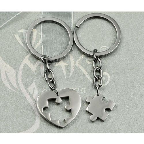 Breloki, BK915 Breloki do kluczy dla zakochanych serce puzzel grawer