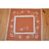 Serwetki, Haft kujawski - serweta plus 6 serwetek ręcznie haftowane, kolor łososiowy
