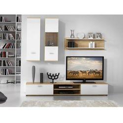 Ścianka RTV JEREMIAH z półkami — Kolor: biały i dąb
