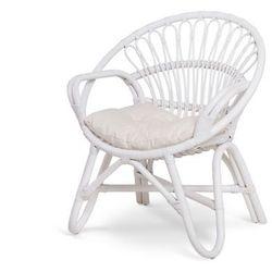 Okrągły fotel COROMANDEL z rattanu – Kolor biały