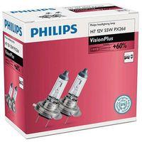 Żarówki halogenowe samochodowe, Philips Żarówki samochodowe VisionPlus H7, 12 V, 55 W (2 szt.) - BEZPŁATNY ODBIÓR: WROCŁAW!
