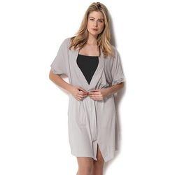 Damska bambusowa piżama DANTE ze szlafrokiem M Czarny / Srebrny