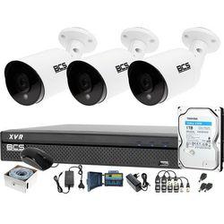 3x kamera po skrętce BCS-TQ4203IR3-B Rejestrator BCS-XVR0401-IV Dysk 1TB Monitoring