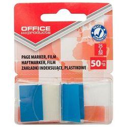 Zakładki indeksujące OFFICE PRODUCTS, PP, 25x43mm, 1x50 kart., blister, niebieskie