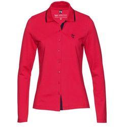 Shirt polo z bawełny pique bonprix czerwono-ciemnoniebieski