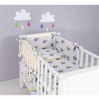 Zabezpieczenia do łóżeczek, MAMO-TATO Ochraniacz rozbieralny do łóżeczka 60x120 Słoń zygzak żółty / cytrynowy