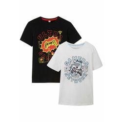 T-shirt chłopięcy z nadrukiem (2 części), bawełna organiczna bonprix czarny