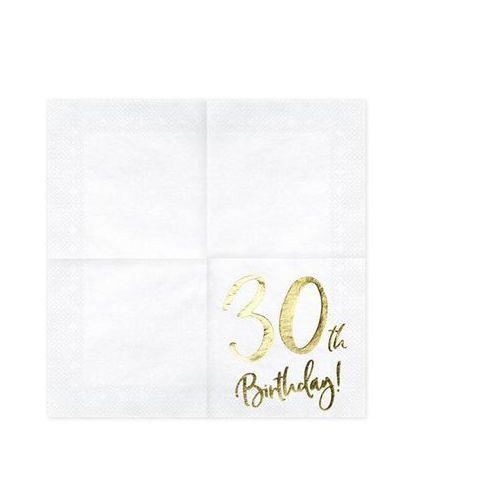 """Serwetki, Serwetki """"30th Birthday - złote urodziny"""", PartyDeco, białe, 33 cm, 20 szt"""