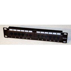 """Patch panel do szaf rack 10"""" 1U 12 portów RJ45 cat 5e wyposażony czarny 10-0004"""