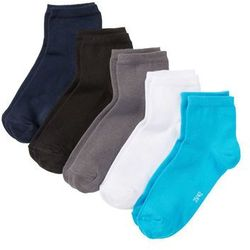 Krótkie skarpetki (5 par) bonprix niebieski + szary + czarny + biały + turkusowy