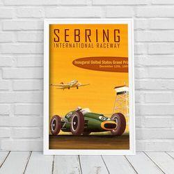 Retro plakat Retro plakat Międzynarodowy tor wyścigowy Sebring