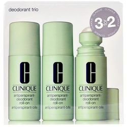 Clinique Deodorant Trio zestaw 225 ml 3x 75 ml Antiperspirant-Deodorant Roll-On dla kobiet