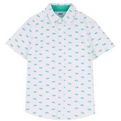 Koszula z krótkim rękawem Regular Fit bonprix biały z nadrukiem