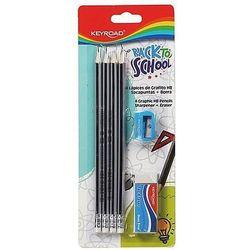Zestaw ołówków dreanianych KEYROAD, z gumką i temperówką, HB, blister, mix kolorów