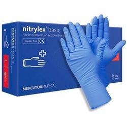 Diagnostyczne i ochronne rękawice nitrylowe MercatorMedical Nitrylex basic, bezpudrowe, niebieskie, 100 szt. – roz. L