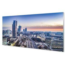 Panel Szklany Warszawa Panorama wieżowce wschód słońca