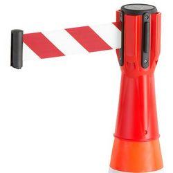 Głowica z taśmą na pachołek drogowy, 3000 mm, czerwony, biało-czerwona taśma