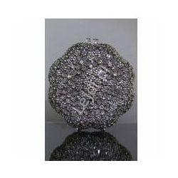 Kryształkowa kwiatowa torebka hand made, torebka ślubna, osadzane ręcznie cyrkonie nr 3