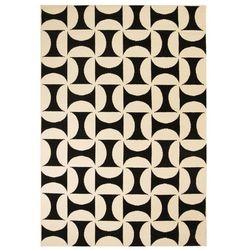 Nowoczesny dywan, wzory geometryczne, 140x200 cm, beżowo-czarny