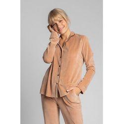 LA007 Welurowa koszula od piżamy z kołnierzykiem - beżowy