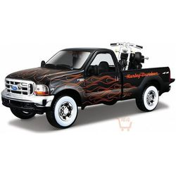 MAISTO 1999 Ford F-350 Super Duty Pickup 1/27 + 2002 FXSTB Night Train 1/24