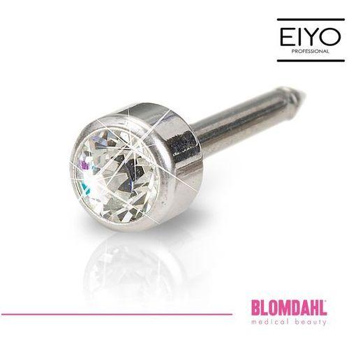 Akcesoria do kolczykowania, Kolczyk do przekłuwania uszu Blomdahl - Bezel Crystal 4 mm w kolorze srebra