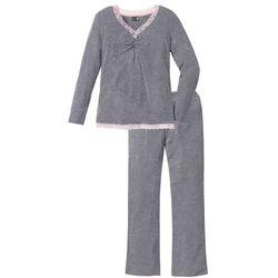 Piżama z długimi spodniami z poszerzanymi nogawkami bonprix szary melanż