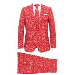 Świąteczny garnitur męski z krawatem, 2-częściowy, 52, czerwony
