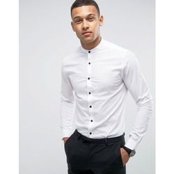 ASOS DESIGN slim shirt in white with grandad collar and contrast buttons - White