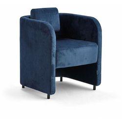 Fotel COMFY, na nóżkach, welur, niebieski